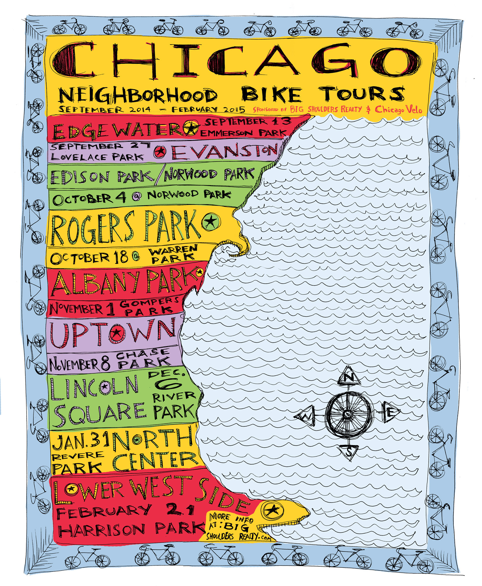 Tour Poster Chicago Velo - Chicago map by neighborhood