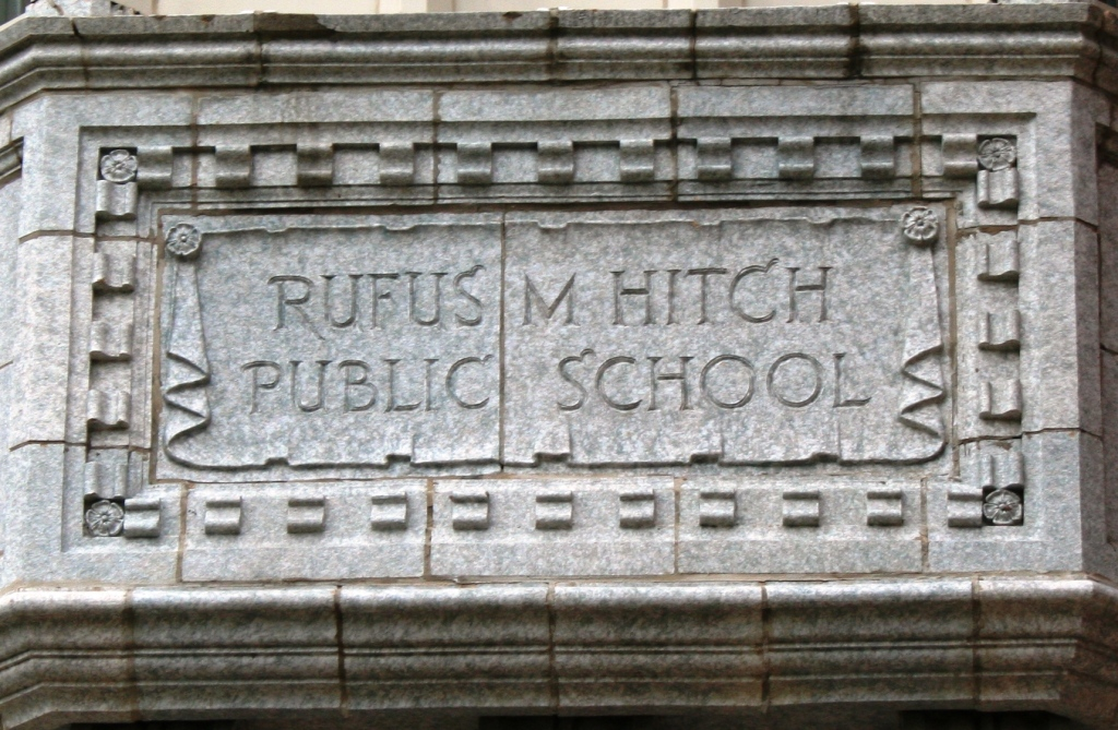 Rufus M Hitch Elementary, sign detail