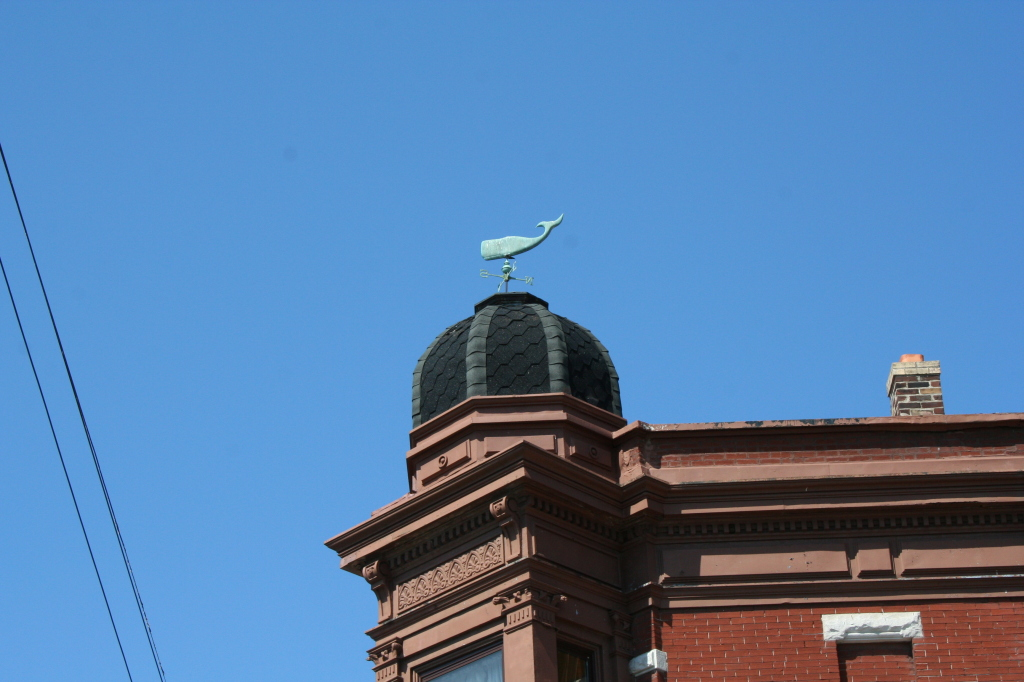 Whale weathervane at the Moonlighter's Lounge