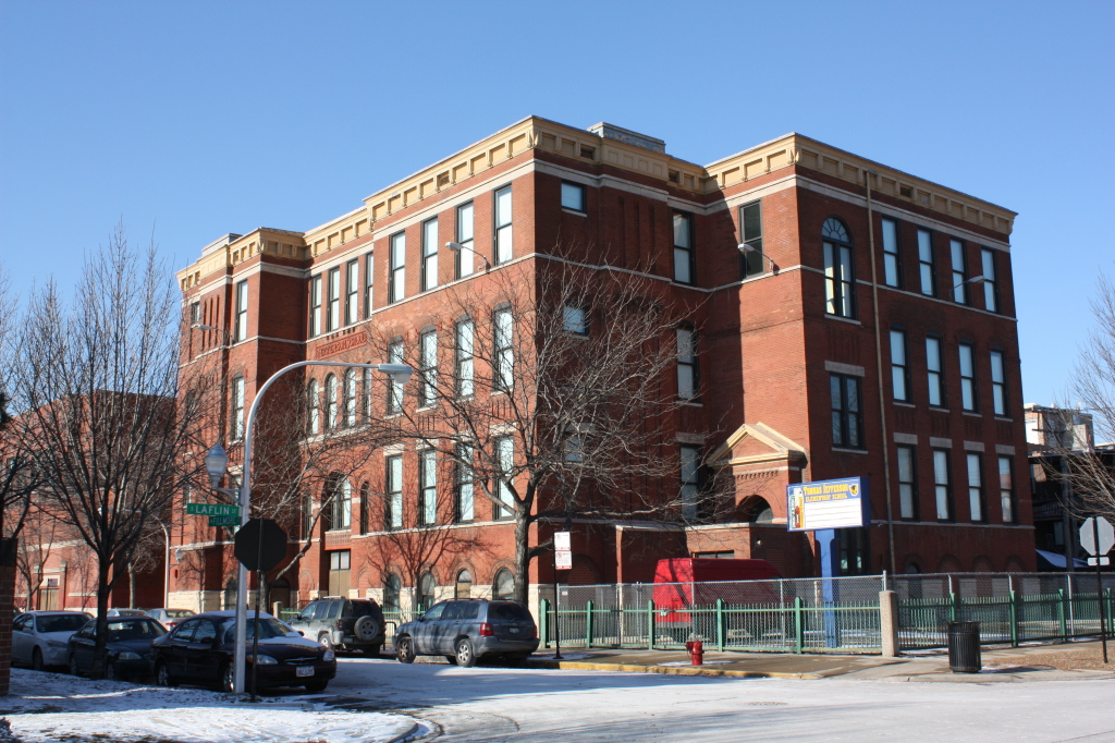Thomas Jefferson Public School at 1522 W Fillmore St designed by John J Flanders who was then the chief architect of the Board of Education in 1884.